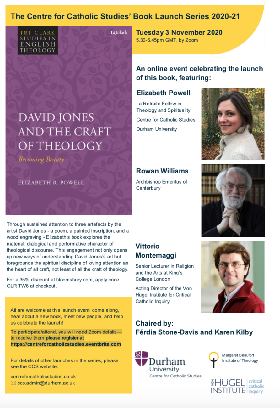 Centre for Catholic Studies' Launch of Dr Elizabeth Powell's new book on David Jones and Theology